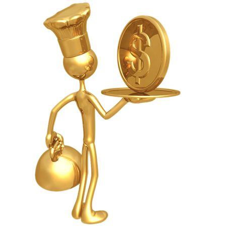 Golden Chef Serving A Dollar Coin photo