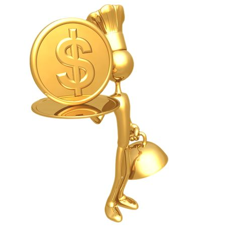 golden: Golden Chef Serving A Dollar Coin Stock Photo
