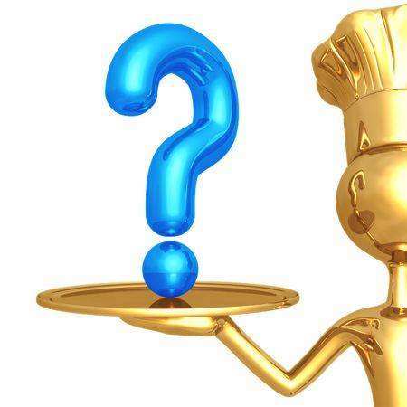 food questions: Golden Chef Serving A Question Stock Photo