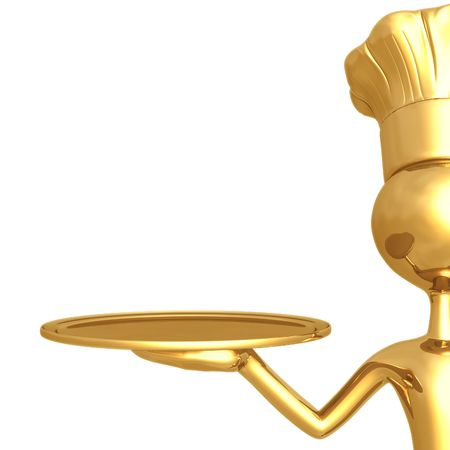 Golden Chef With Empty Serving Tray photo