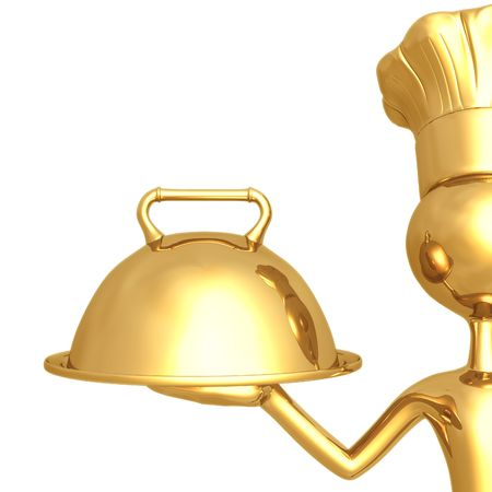 Golden Chef With Serving Tray Stock Photo