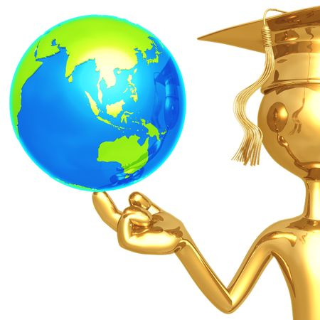 world at your fingertips: Golden Grad With World