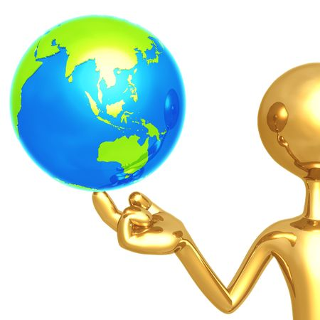 gilded: Gold Guy With World On His Finger Stock Photo