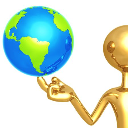 world at your fingertips: Gold Guy With World On His Finger Stock Photo