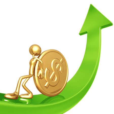 Pushing Gold Dollar Coin Up Arrow Stock Photo - 4412301