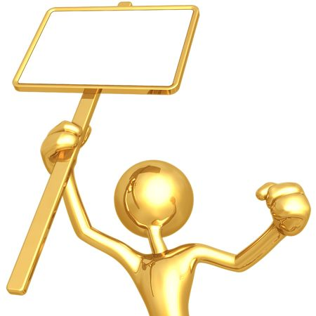 Holding Blank Picket Sign photo