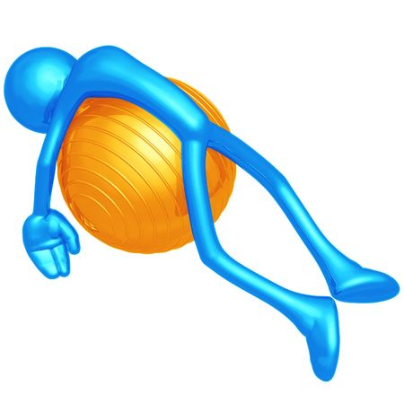 physio: Yoga Pilates Physio Ball Exhaustion Stock Photo