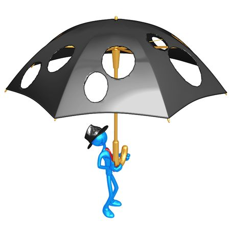 holes: Businessman Holding A Giant Umbrella With Holes