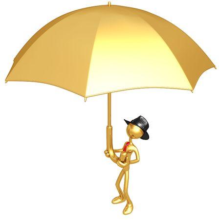 Businessman Holding Giant Umbrella photo