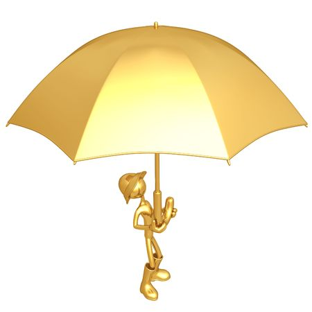 Holding Giant Umbrella photo
