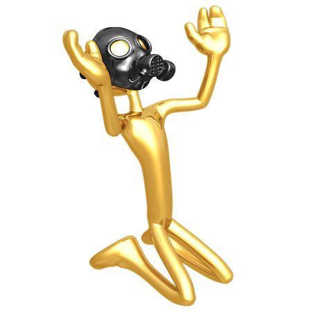 gasmask: Wearing Gasmask In Praise Stock Photo