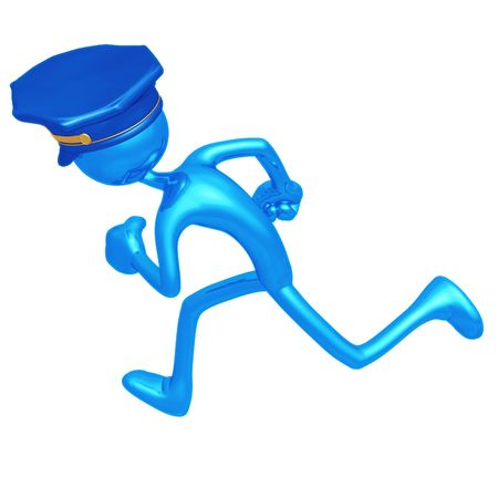 protecting: Police Officer Running Stock Photo