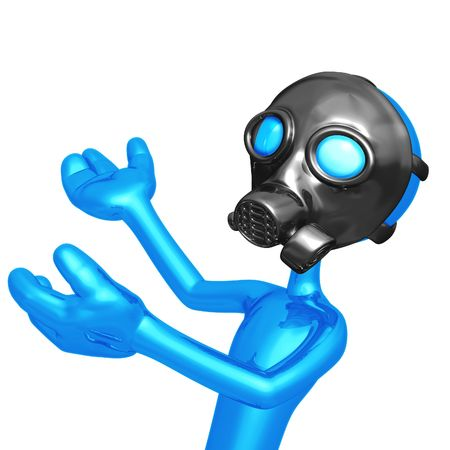 health threat: Gas Mask Presenter Stock Photo
