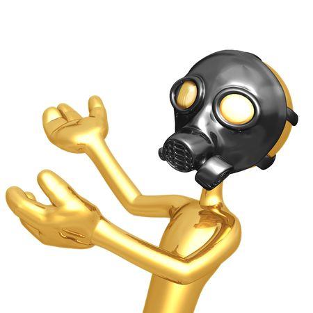 gasmask: Gas Mask Presenter Stock Photo