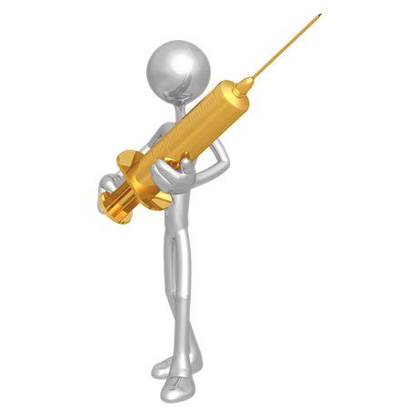 hypodermic syringe: Holding Giant Needle