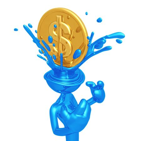 Dollar Coin Splashing Head photo