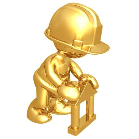 building construction: Baby Construction Worker Building Toy Block Home Stock Photo