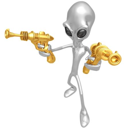 invader: Alien Invader With Retro Rayguns Stock Photo