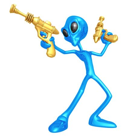 Alien Invader With Retro Rayguns Stock Photo