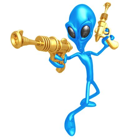 invasion: Alien Invader With Retro Rayguns Stock Photo