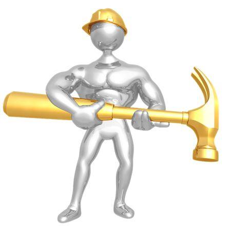 Construction Worker With Giant Hammer Stock Photo