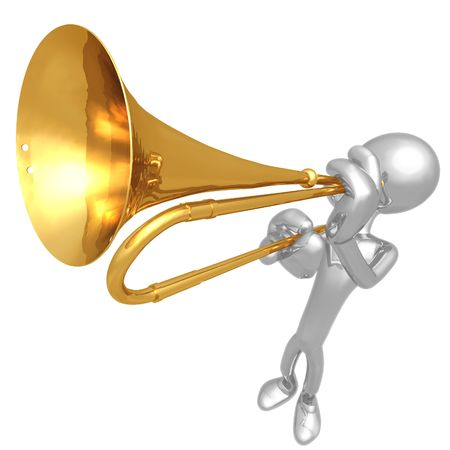trumpet isolated: Trumpet Announcement Stock Photo