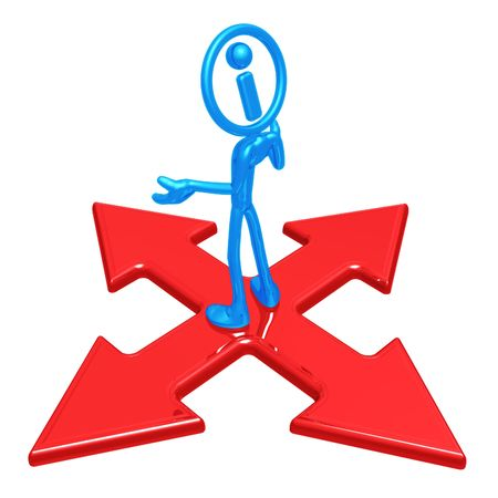 x marks the spot: Information Man At Crossroad