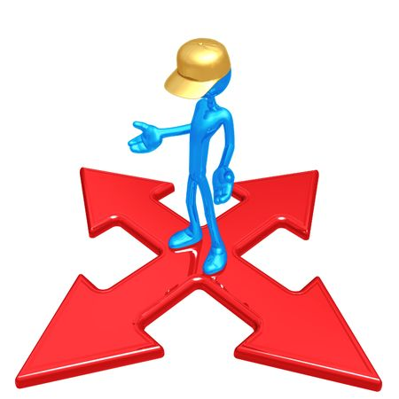 x marks the spot: Worker At The Crossroads