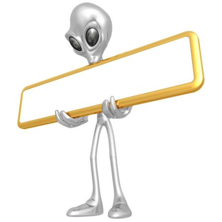 Alien With Blank Sign photo