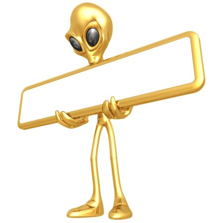 Alien With Blank Sign Stock Photo - 4688284