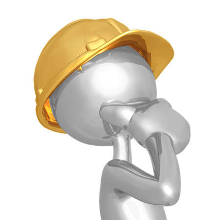 problem: Construction Worker Thinking Stock Photo