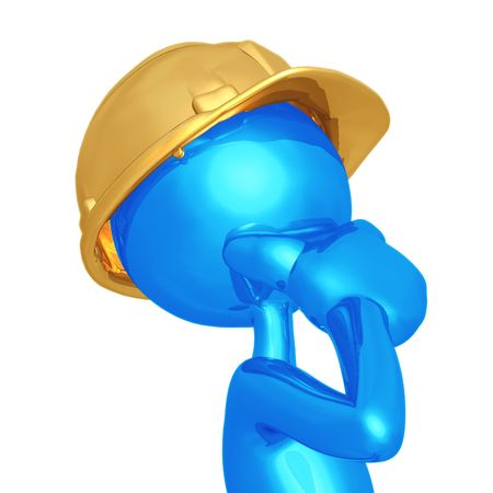 contemplate: Construction Worker Thinking Stock Photo