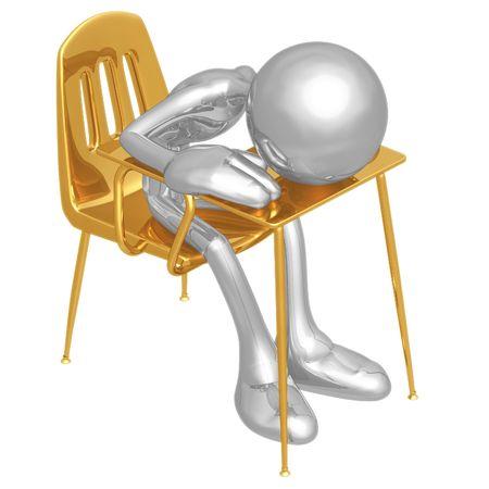 child sitting: Sleeping Student