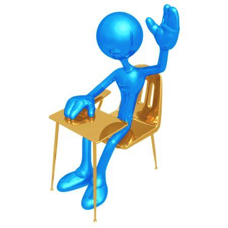 child sitting: Student With Hand Raised Stock Photo