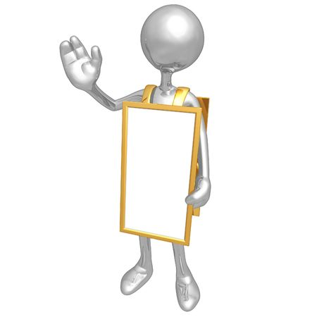 sandwich board: Wearing A Blank Sandwich Board Sign