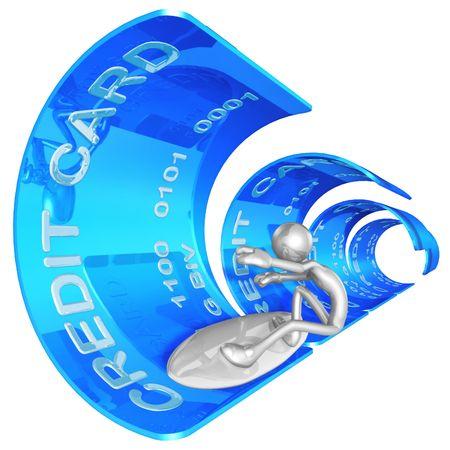 plastic money: Credit Card Surfing Stock Photo