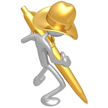 Cowboy With Gold Pen Stock Photo - 4750629