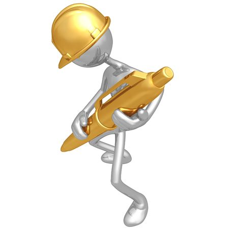 Construction Worker With Gold Pen photo