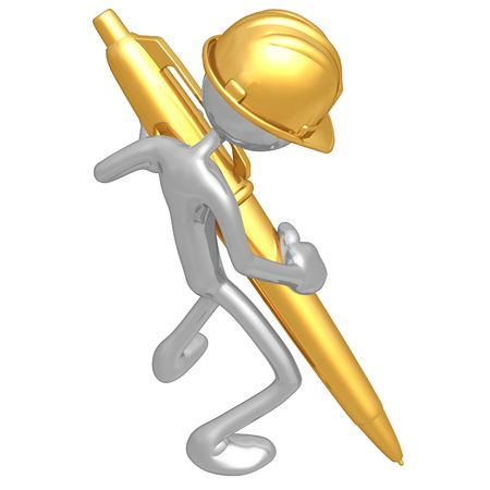 Construction Worker With Gold Pen Stock Photo - 4750690