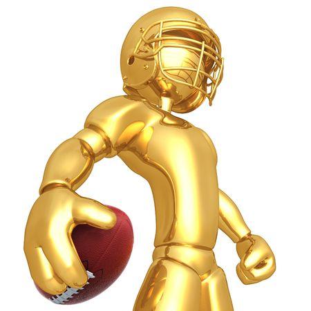 golden ball: 3D Football Player Stock Photo
