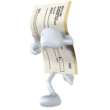 blank check: Blank Check Running Stock Photo