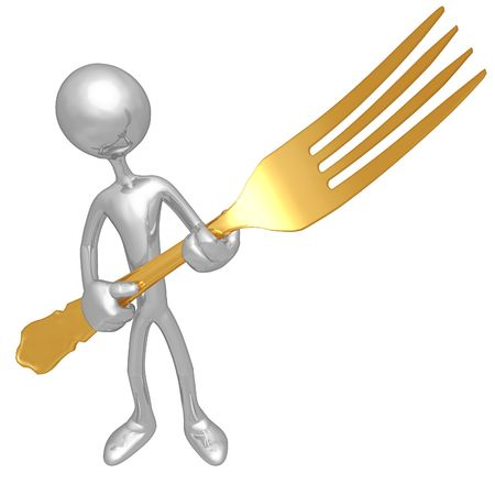 epicurean: Golden Fork Stock Photo