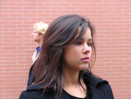 Couple arguing, mad, sadness because misunderstanding Stock Photo