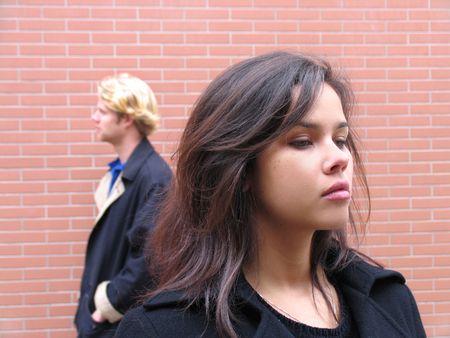 Couple arguing, mad, sadness because misunderstanding photo