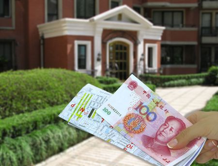Female hand with chinese map and chinese money  Stock Photo