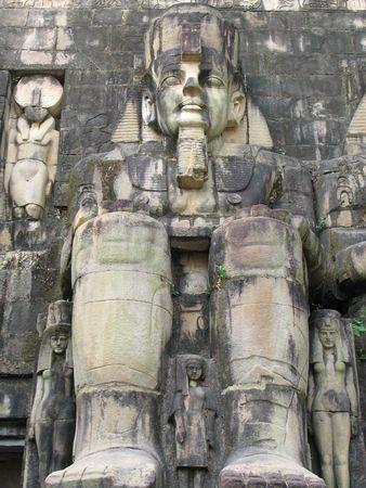 Abu Simbel Temples replica in a theme park in Shengzheng, China Stock Photo