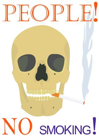 Illustration of the text, smoking skull on a white background.  Stock Illustration - 4812694