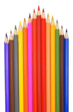 Colour pencils on a white background.                     photo