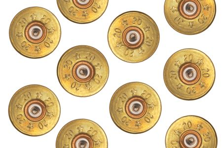 gun shell: The used cartridges on a white background.                    Stock Photo