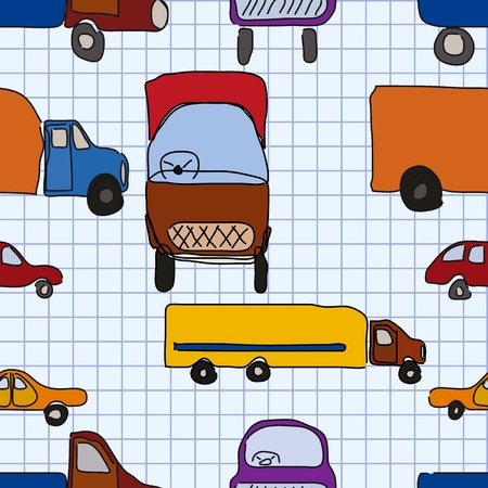 Abstraction, childrens drawings of cars, seamless pattern, file EPS.8 illustration.  Vector